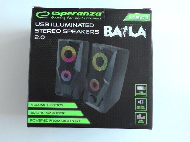 Głośniki Komputerowe USB Podswietlane BAILA
