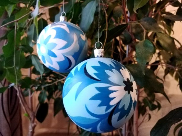 Елочные шары, ручная роспись самчиковская, новогодние игрушки подарок