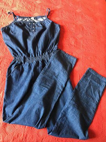 Літній легкий ситцевий (під джинс) комбінезон