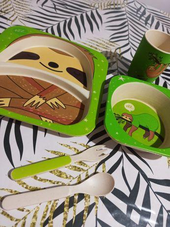 Zestaw z bambusu / 5 elementów / do nauki jedzenia