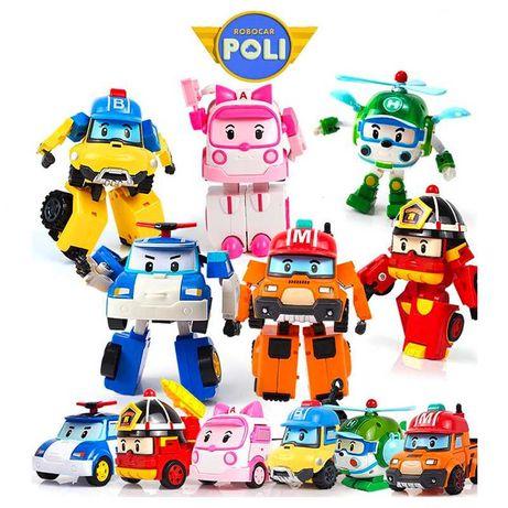 Conjunto de 6 veículos Robocar Poli