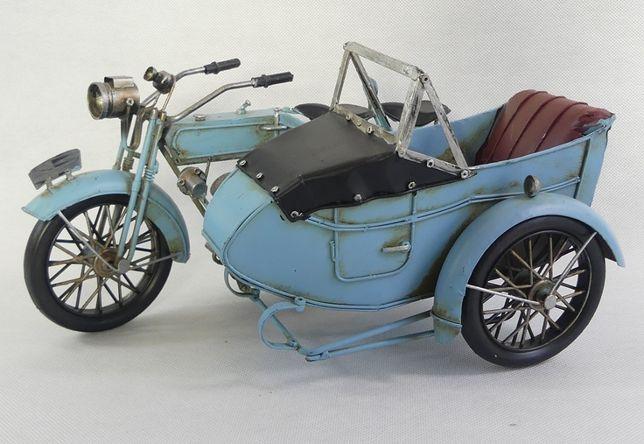 Metalowy MOTOR z koszem niebieski RETRO pojazd