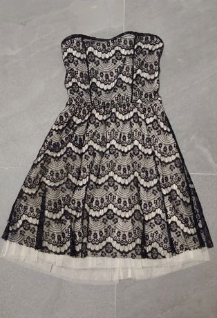 Elegancka sukienka bez ramiączek czarna koronka rozm 36 Pimkie