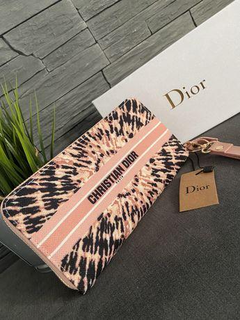 Portfel Dior Nowy damski pudrowy róż Plus Pudelko