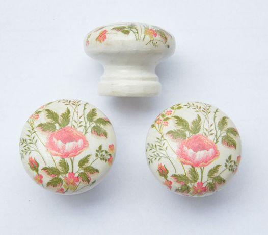***Gałka meblowa róże handmade róże styl prowansalski biała***