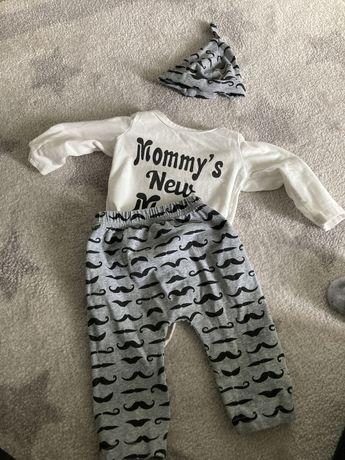 Zestaw noworodek chlopiec body spodnie 56 62
