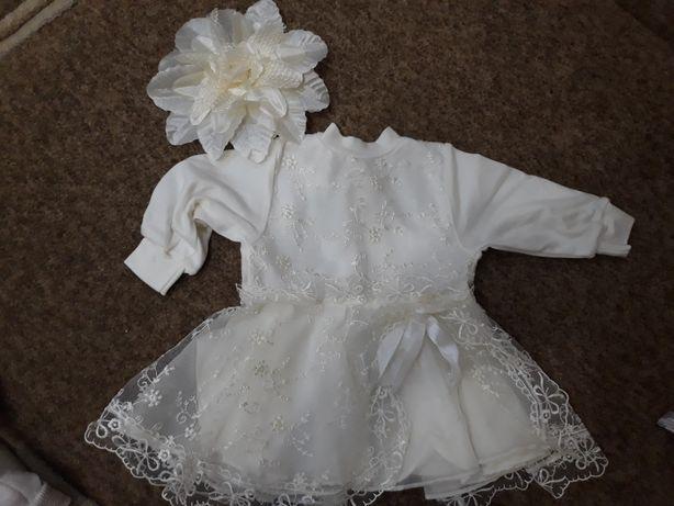 Продам новое детское платье с повязкой на голову. На выписку с родома.