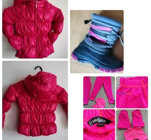 Pikowana różowa puchowa  kurtka dla dziewczynki 110
