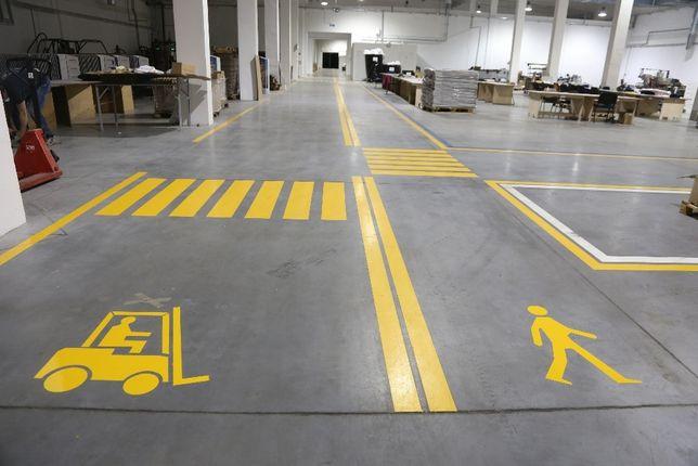 Malowanie pasów i linii Oznakowanie poziome hal, parkingów, BHP