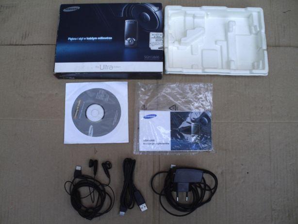 samsung U 600 ładowarka pudełko słuchawki kabel USB telefony akcesoria