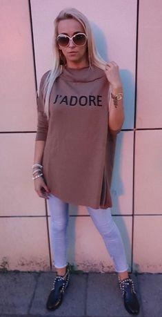 Sweter z napisem J'ADORE świetny oversize r.38-54 NOWY beż