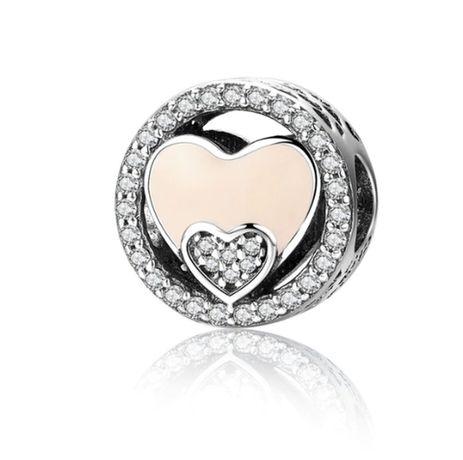 Charms PANDORA srebro 925 serce serca miłość emalia okrągły cyrkonie