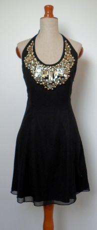 sukienka mała czarna jedwabna jedwab koraliki cekiny gołe plecy S/M