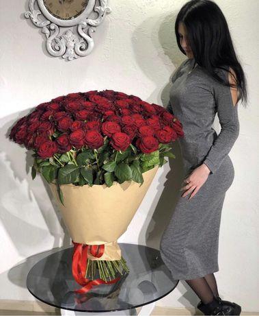 Цветы с доставкой букет из  роз гортензии тюльпаны подарок 51/101 роза