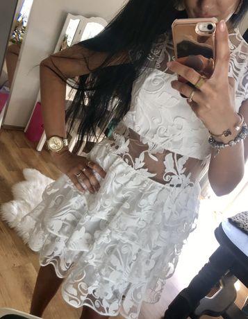 Biała sukienka koronkowa hit ażurowa gipiura weselna imprezowa lou