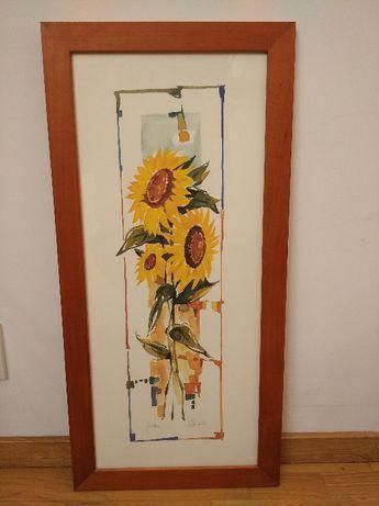 Obraz Słoneczniki motyw kwiatowy 30x70 drewniana rama z szybą obrazek