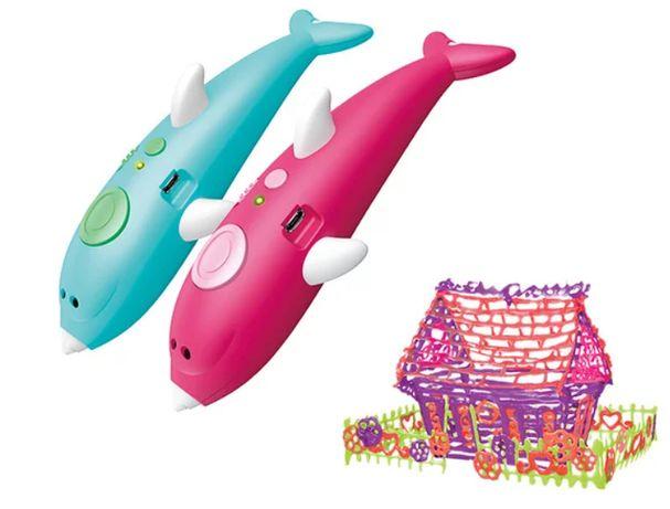 Детская 3D Ручка аккумуляторная Дельфин K9903 + Пластик 8 цветов