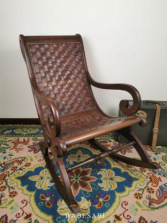 Antiga Cadeira de Baloiço em Madeira e Pele, Vintage