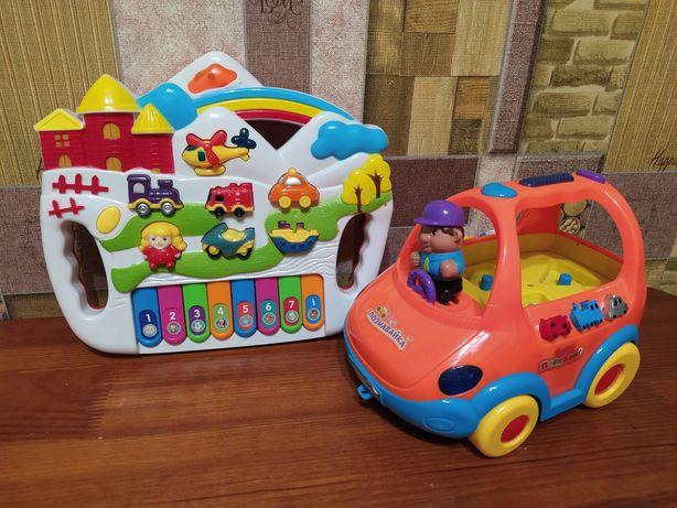 Детское пианино + механическая машинка. Развивающие игрушки. Іграшки