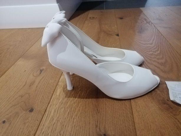 Nowe białe buty ślubne szpilki rozmiar 37/38