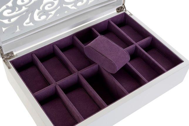 Caixa de 12 Relógios de Madeira Lacada Branca - 29x20x9cm By Arcoazul