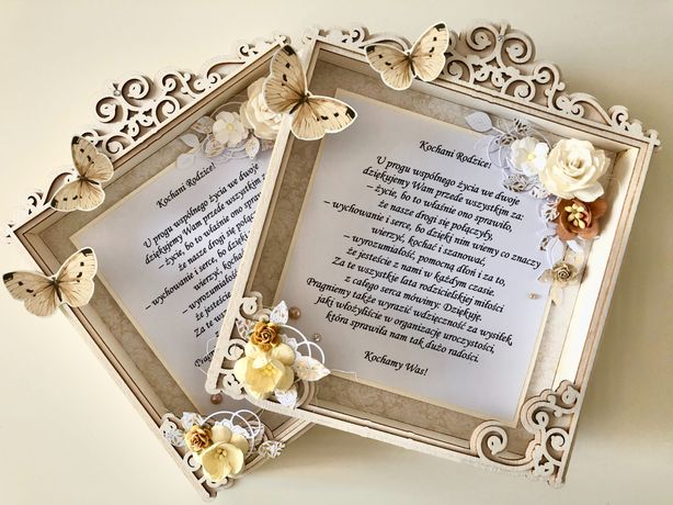 Podziękowanie/ramka dla rodziców w dniu ślubu/prezent/rękodzieło