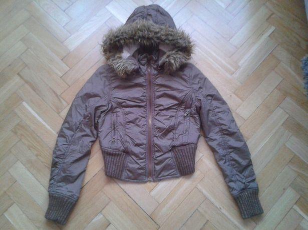 Krótka kurtka zimowa puchowa z kapturem ściągaczem futerko XS/S 34/36