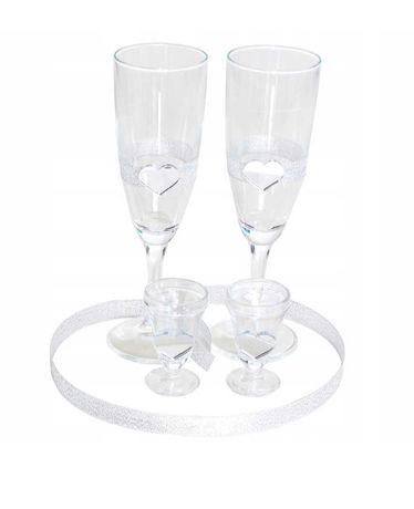 Zestaw Glamour szampan i kieliszki oszukane ślub