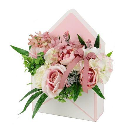 BUKIET w różowej KOPERCIE elegancki prezent MIX kwiatów Dzień Babci
