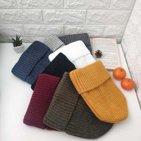Теплые зимнии шапочки