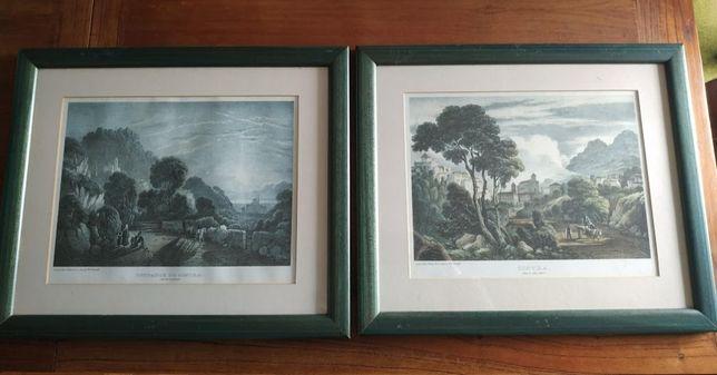 Conjunto 2 quadros com gravuras de Sintra antiga
