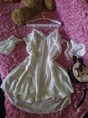 Белое платье с кружевами Л