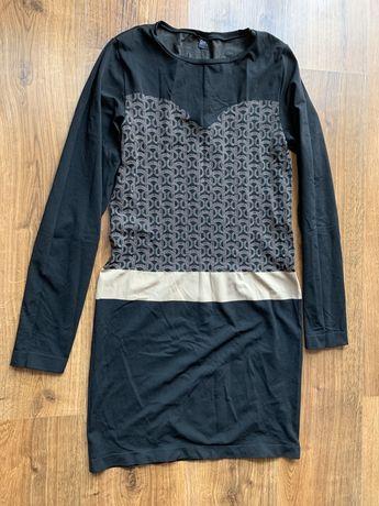 Sukienka bezszwowa Gatta L jak nowa czarno beżowa L długi rękaw
