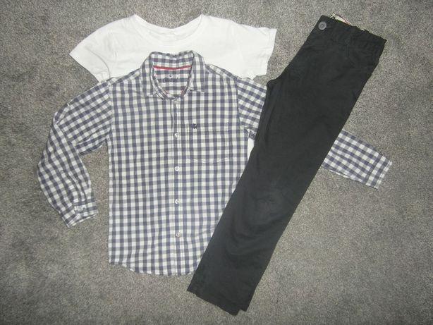 koszula tshirt biały granatowe spodnie chłopiec 122-128