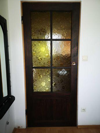 Drzwi drewniane lewe wewnętrzne 80x200 rustykalne 2szt.