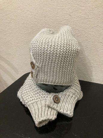Демисезонный вязаный набор вязаная шапка и вязаный хомут, шарф, снуд