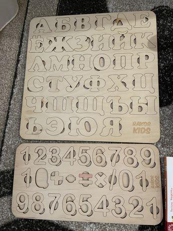 Деревянные пазлы буквы цифры