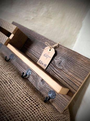 Drewniany wieszak z półeczką Wooden hanger Hand made Loft 50x18 cm