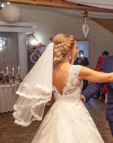 Suknia ślubna 36-38 kolor white off/ ivory koronka + welon gratis