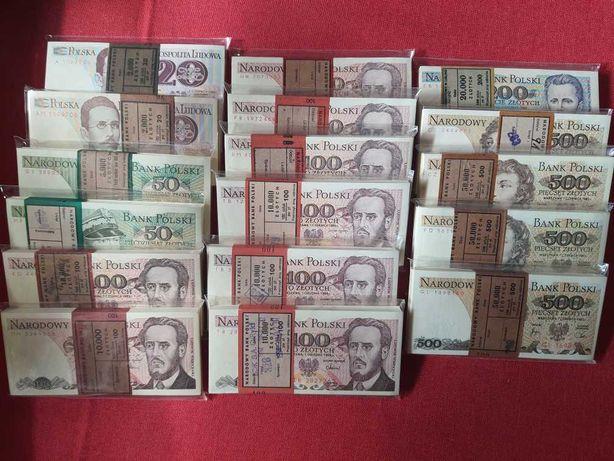 Paczki UNC 100 sztuk banknotów UNC