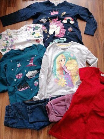 Ubranka paka 122/134 bluzy spodnie bluzki