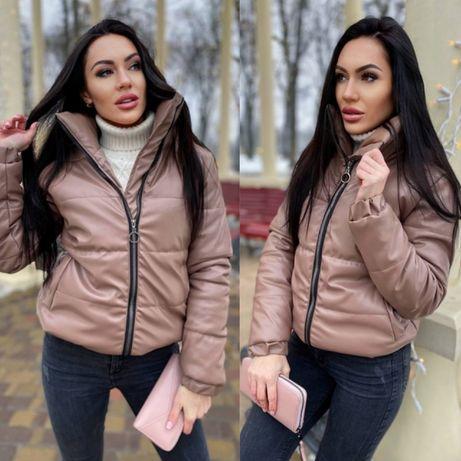 Женская весенняя куртка курточка эко-кожа кожзам кофе коричневая