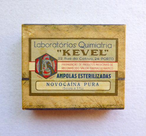 Caixa selada de ampolas novocaína Kevel antiga Laboratórios Quimiatria