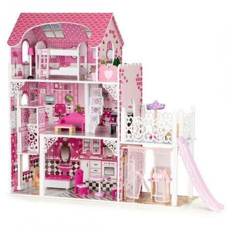 Bajeczna rezydencja Drewniany domek dla lalek z windą xxl zjeżdżalnia