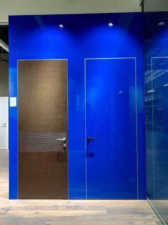 Двери скрытого монтажа, скрытые, крашенные, стеклянные, алюминиевые