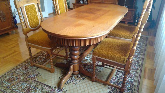 Stół dębowy / Krzesła / Drewno / PRL / Ręcznie robione hand made