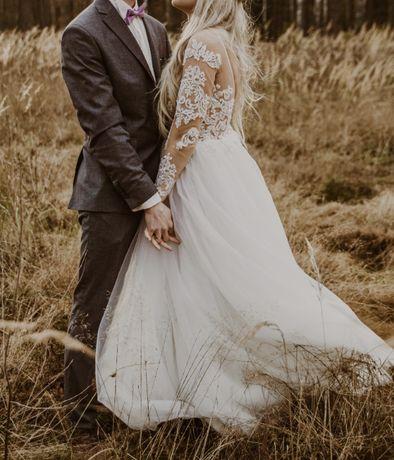 Suknia ślubna biała rozkloszowana koronka