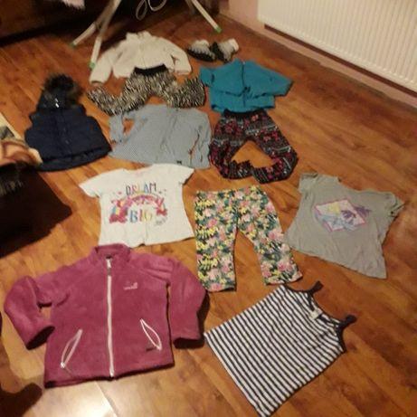 Ubranka dla dziewczynki roz. 152. Ciepłe leginsy, bluzy, kamizelka itd