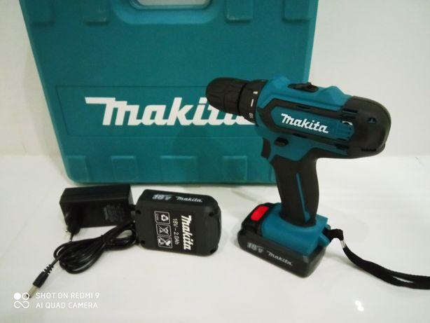 Аккумуляторный шуруповёрт Makita(Макита)18v(вольт)2.0аh 2 аккумулятора