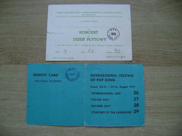 Starocie z PRL - Bilet na koncert w Sopocie w 1970r. i w 1971r.